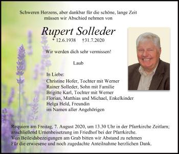 Traueranzeige von Rupert Solleder von Mittelbayerische Zeitung Regensburg