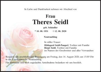 Traueranzeige von Theres Seidl von Mittelbayerische Zeitung Regensburg