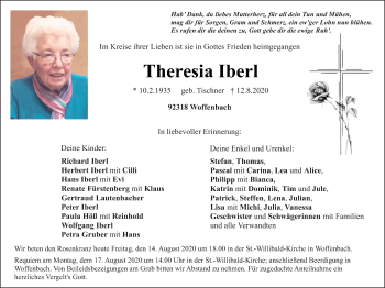 Traueranzeige von Theresia Iberl von Neumarkter Tagblatt