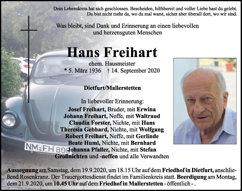 Traueranzeige für Hans Freihart vom 18.09.2020 aus Neumarkter Tagblatt
