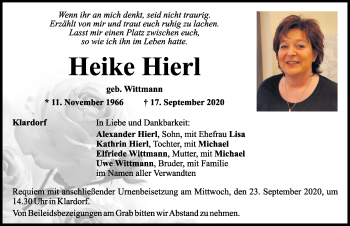 Traueranzeige von Heike Hierl von Mittelbayerische Zeitung Schwandorf