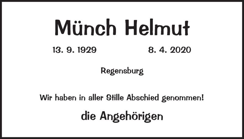 Traueranzeige für Helmut Münch vom 19.09.2020 aus Mittelbayerische Zeitung Regensburg