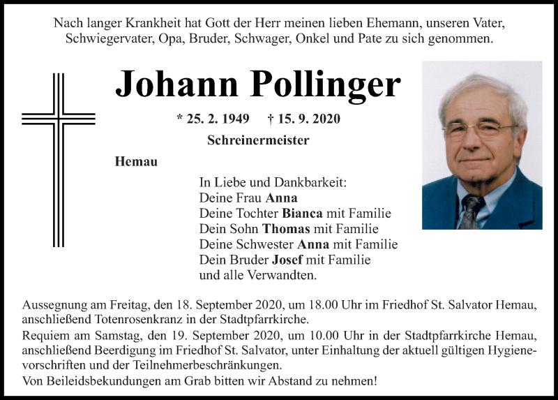 Traueranzeige für Johann Pollinger vom 18.09.2020 aus Mittelbayerische Zeitung Regensburg