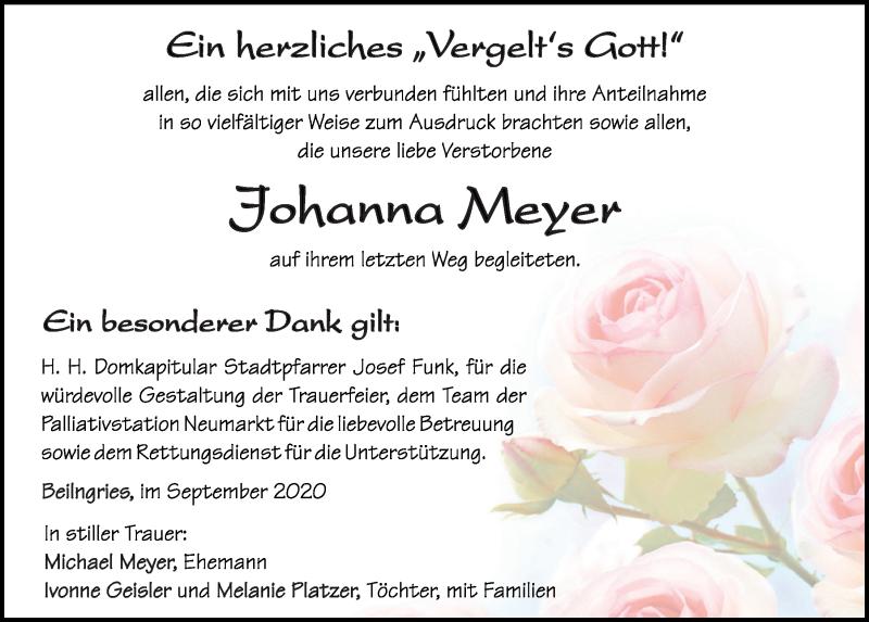 Traueranzeige für Johanna Meyer vom 30.09.2020 aus Neumarkter Tagblatt