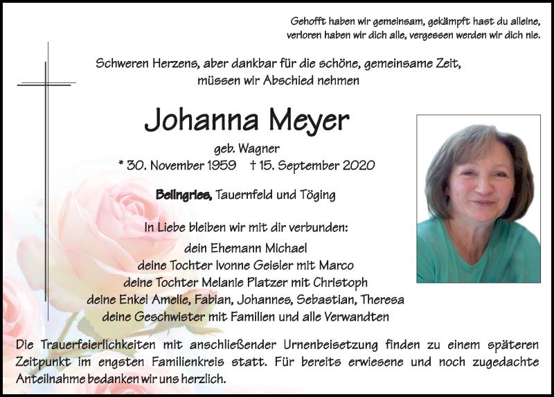 Traueranzeige für Johanna Meyer vom 17.09.2020 aus Neumarkter Tagblatt