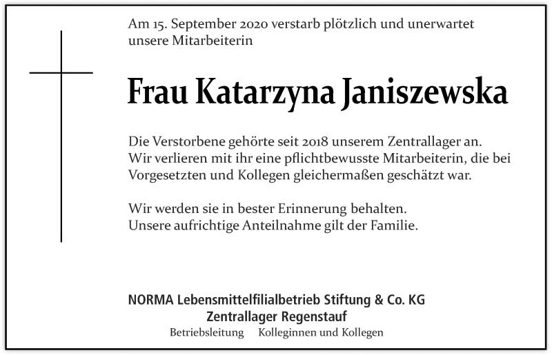 Traueranzeige für Katarzyna Janiszewska vom 18.09.2020 aus Mittelbayerische Zeitung Regensburg