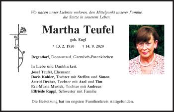 Traueranzeige von Martha Teufel von Mittelbayerische Zeitung Regensburg