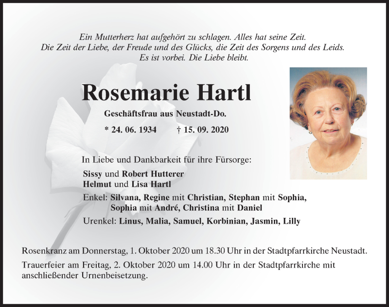 Traueranzeige für Rosemarie Hartl vom 26.09.2020 aus Mittelbayerische Zeitung Kelheim