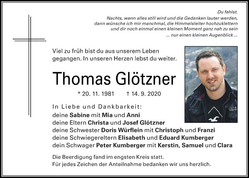 Traueranzeige für Thomas Glötzner vom 26.09.2020 aus Mittelbayerische Zeitung Regensburg
