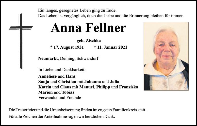 Traueranzeige für Anna Fellner vom 13.01.2021 aus Mittelbayerische Zeitung Schwandorf