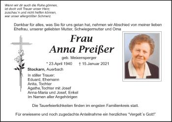 Traueranzeige von Anna Preißer von Bayerwald Echo