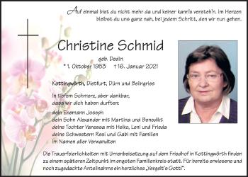 Traueranzeige von Christine Schmid von Neumarkter Tagblatt