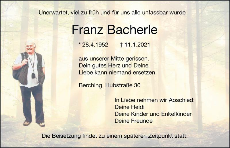 Traueranzeige für Franz Bacherle vom 13.01.2021 aus Neumarkter Tagblatt