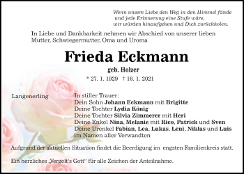 Traueranzeige von Frieda Eckmann von Mittelbayerische Zeitung Regensburg
