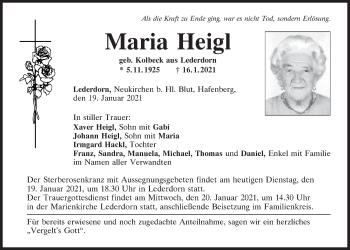Traueranzeige von Maria Heigl von Bayerwald Echo