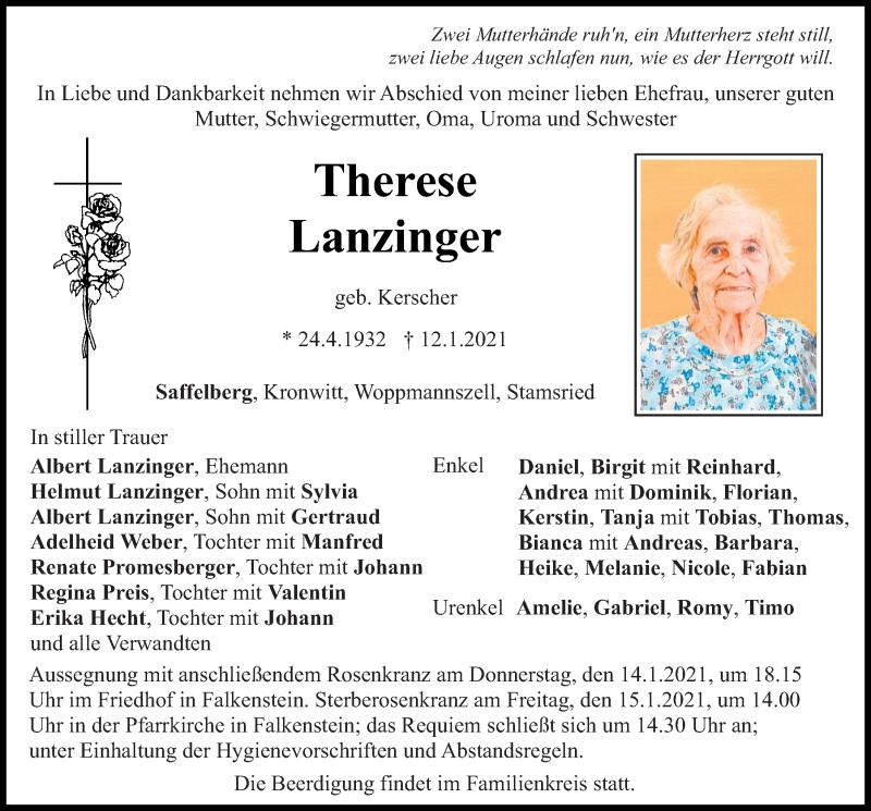 Traueranzeige für Therese Lanzinger vom 13.01.2021 aus Bayerwald Echo