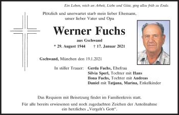 Traueranzeige von Werner Fuchs von Bayerwald Echo