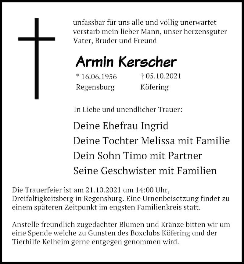 Traueranzeige für Armin Kerscher vom 16.10.2021 aus Mittelbayerische Zeitung Regensburg