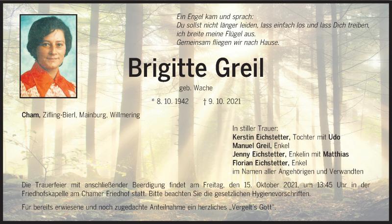 Traueranzeige für Brigitte Greil vom 13.10.2021 aus Bayerwald Echo