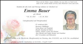Traueranzeige von Emma Bauer von Mittelbayerische Zeitung Regensburg
