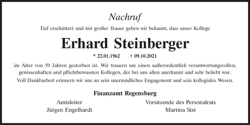 Traueranzeige für Erhard Steinberger vom 13.10.2021 aus Neumarkter Tagblatt