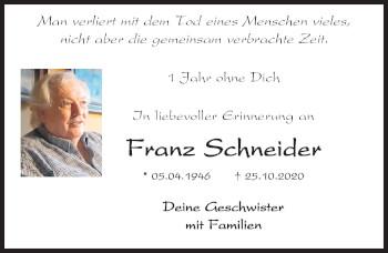 Traueranzeige von Franz Schneider von Mittelbayerische Zeitung Kelheim