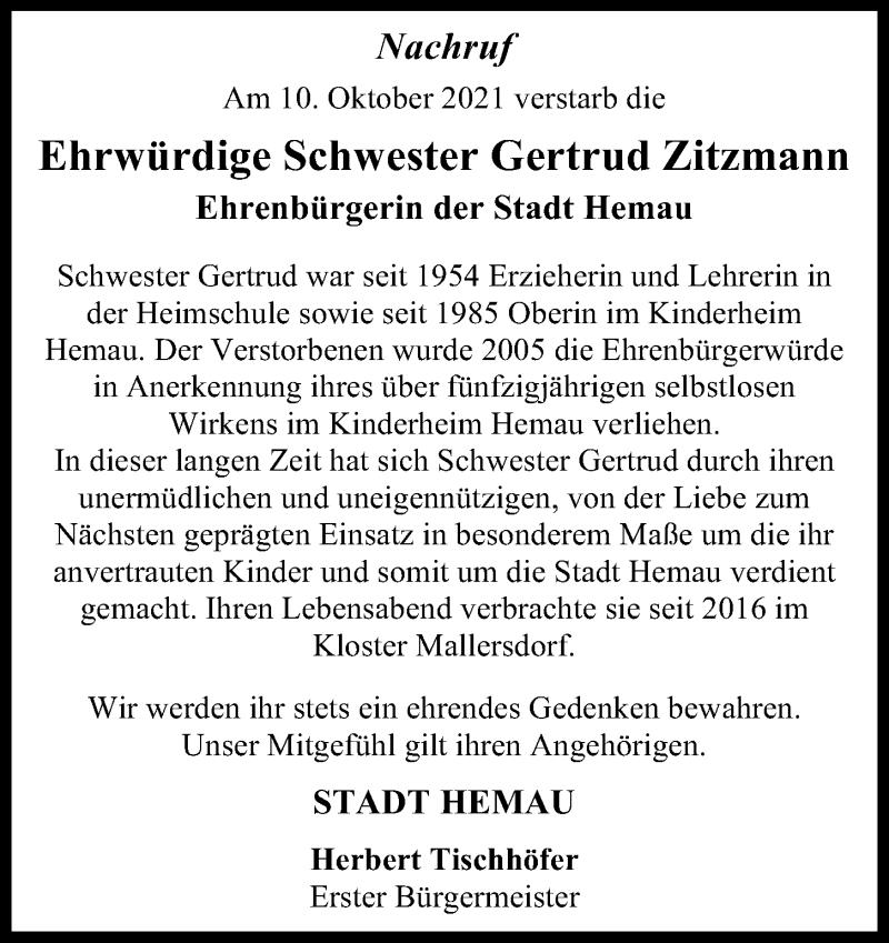 Traueranzeige für Gertrud Zitzmann vom 13.10.2021 aus Mittelbayerische Zeitung Regensburg
