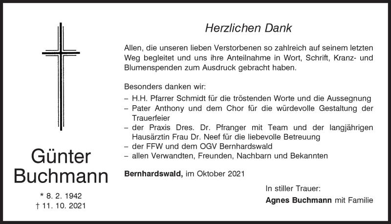 Traueranzeige für Günter Buchmann vom 23.10.2021 aus Mittelbayerische Zeitung Regensburg