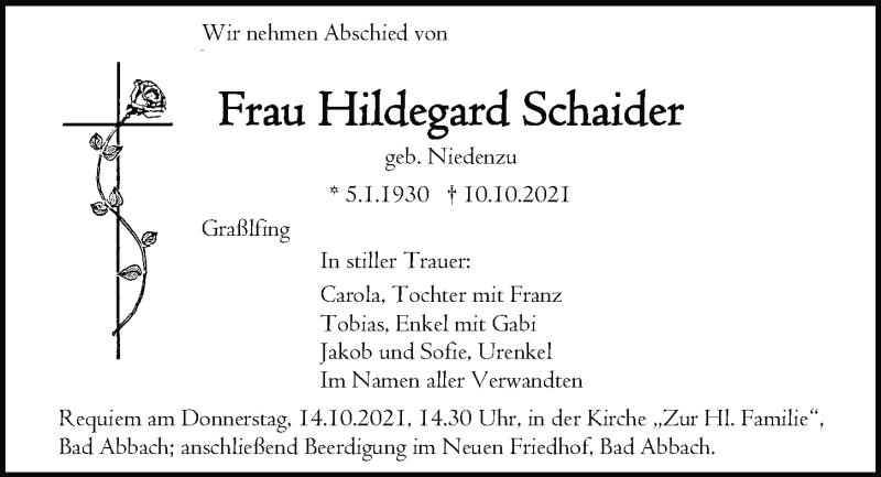 Traueranzeige für Hildegard Schaider vom 13.10.2021 aus Mittelbayerische Zeitung Regensburg