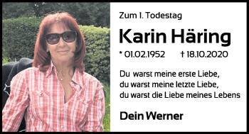 Traueranzeige von Karin Häring von Mittelbayerische Zeitung Kelheim