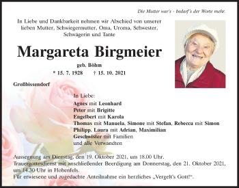 Traueranzeige von Margareta Birgmeier von Neumarkter Tagblatt