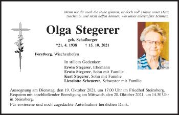 Traueranzeige von Olga Stegerer von Mittelbayerische Zeitung Regensburg