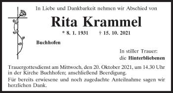 Traueranzeige von Rita Krammel von Mittelbayerische Zeitung Kelheim