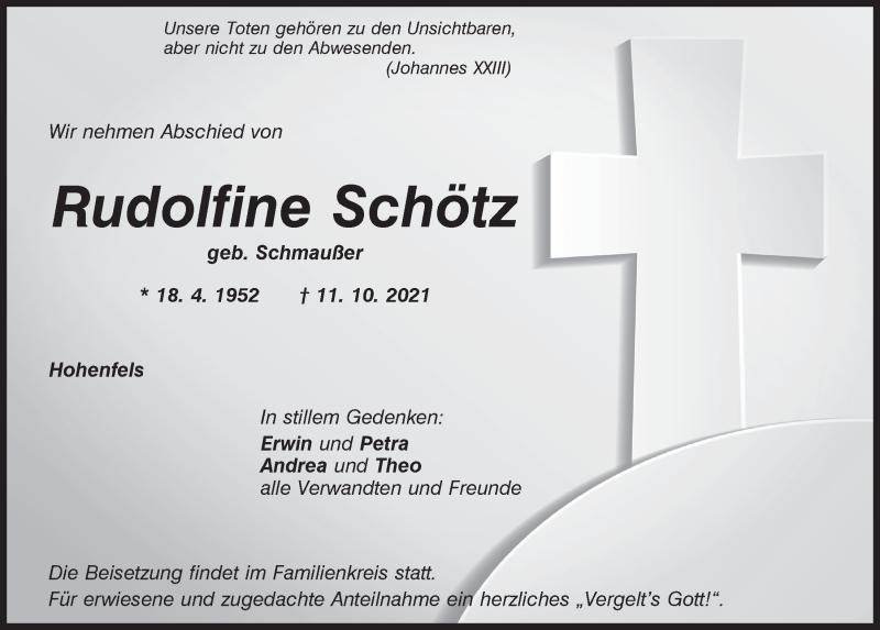 Traueranzeige für Rudolfine Schötz vom 14.10.2021 aus Neumarkter Tagblatt