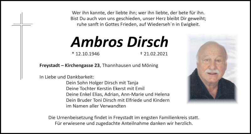 Traueranzeige für Ambros Dirsch vom 23.02.2021 aus Neumarkter Tagblatt