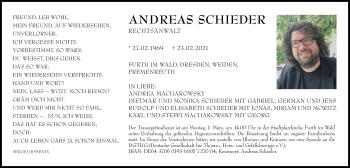 Traueranzeige von Andreas Schieder von Bayerwald Echo
