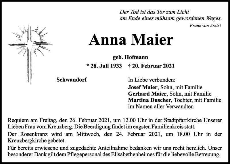 Traueranzeige für Anna Maier vom 22.02.2021 aus Mittelbayerische Zeitung Schwandorf