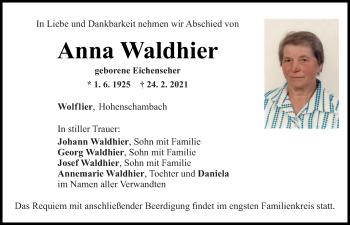 Traueranzeige von Anna Waldhier von Mittelbayerische Zeitung Regensburg