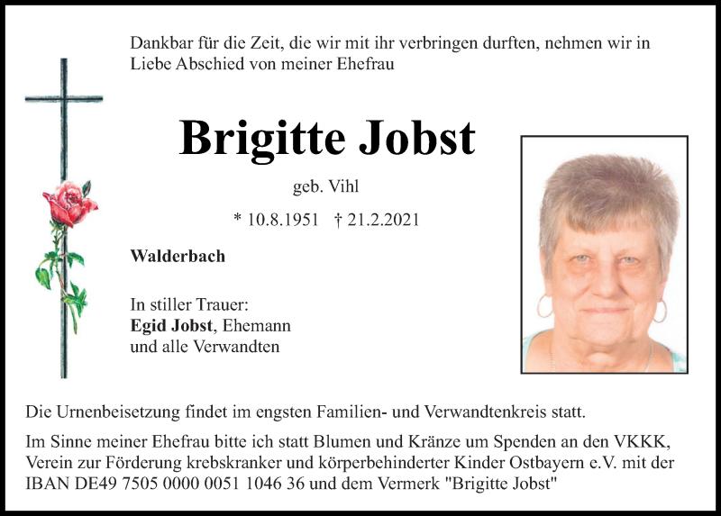 Traueranzeige für Brigitte Jobst vom 24.02.2021 aus Bayerwald Echo