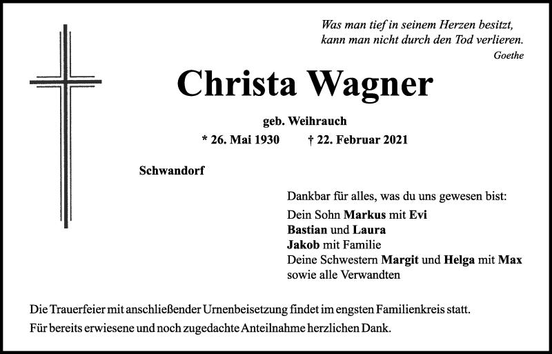 Traueranzeige für Christa Wagner vom 24.02.2021 aus Mittelbayerische Zeitung Schwandorf