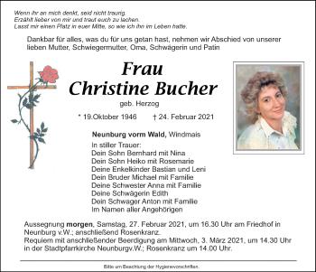 Traueranzeige von Christine Bucher von Mittelbayerische Zeitung Schwandorf