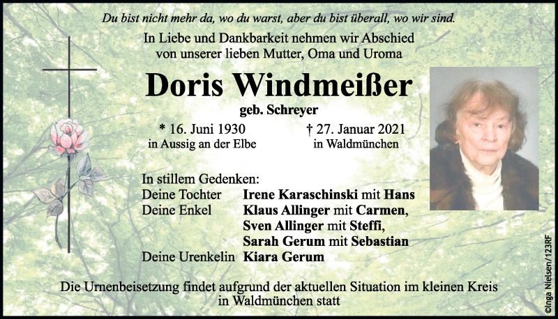 Traueranzeige für Doris Windmeißer vom 24.02.2021 aus Bayerwald Echo