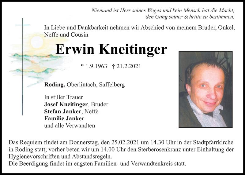 Traueranzeige für Erwin Kneitinger vom 23.02.2021 aus Bayerwald Echo