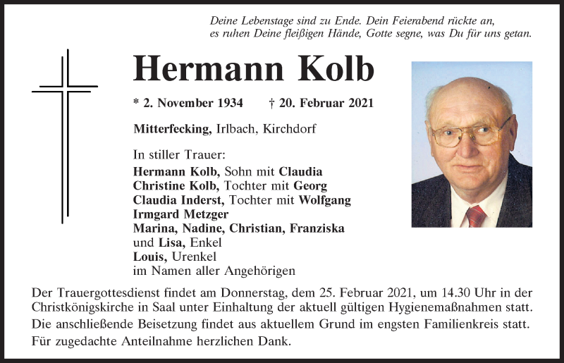 Traueranzeige für Hermann Kolb vom 23.02.2021 aus Mittelbayerische Zeitung Kelheim