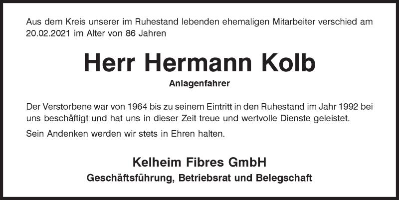 Traueranzeige für Hermann Kolb vom 24.02.2021 aus Mittelbayerische Zeitung Kelheim