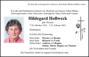 Traueranzeige von Hildegard Hollweck von Neumarkter Tagblatt