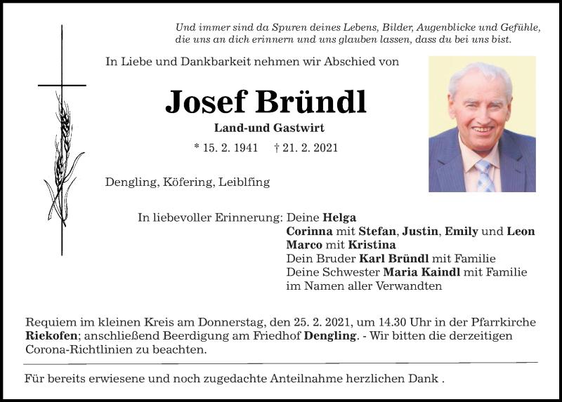 Traueranzeige für Josef Bründl vom 23.02.2021 aus Mittelbayerische Zeitung Regensburg