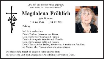 Traueranzeige von Magdalena Fröhlich von Mittelbayerische Zeitung Regensburg