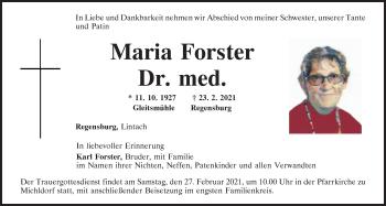 Traueranzeige von Maria Forster von Mittelbayerische Zeitung Regensburg