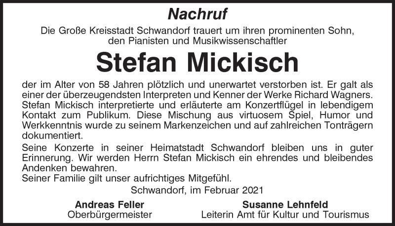 Traueranzeige für Stefan Mickisch vom 27.02.2021 aus Mittelbayerische Zeitung Schwandorf